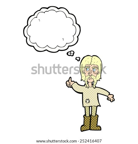 cartoon hippie man giving thumbs up symbol with thought bubble - stock photo