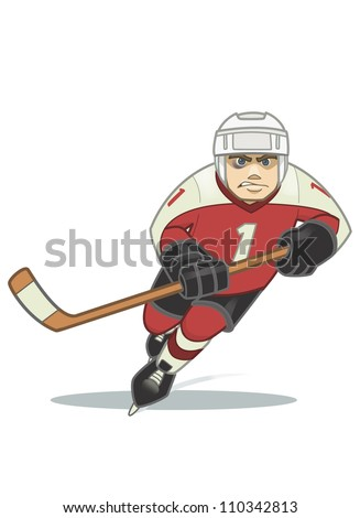 Cartoon Hockey Player - stock photo