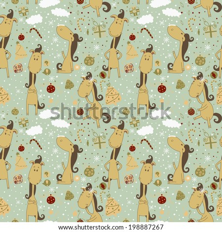 Cartoon horse on the Christmas background. Christmas seamless pattern. Raster copy of vector images - stock photo