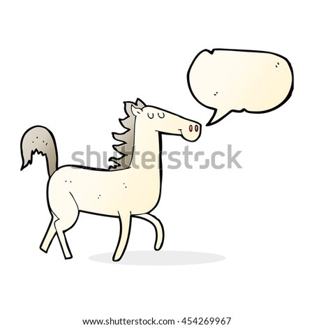 cartoon horse with speech bubble - stock photo