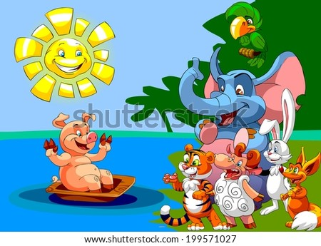 Cartoon illustration for kindergarten. happy animals looking at the pig bathed in a washtub under the sun. - stock photo