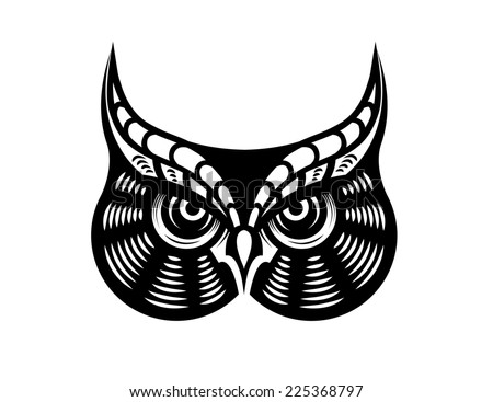 Cartoon illustration in black and white of the face of a fierce looking horned owl - stock photo