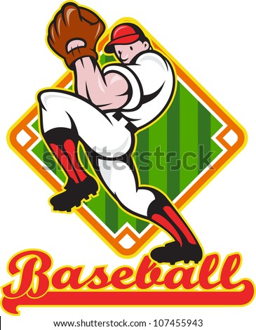 "Cartoon illustration of a baseball player pitcher pitching ball facing front with diamond field in background with text wording ""baseball"" - stock photo"