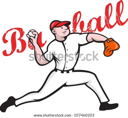 Cartoon illustration of a baseball player pitcher pitching ball throwing ball on isolated white background with words baseball. - stock photo