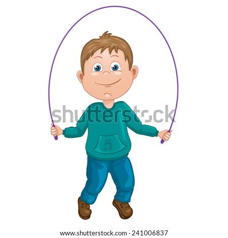 Cartoon illustration of a boy jumping rope - stock photo