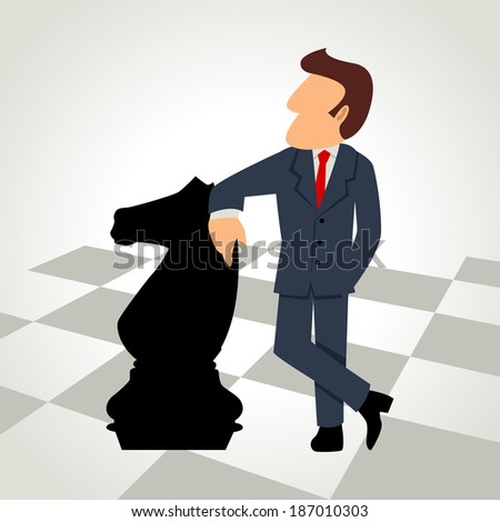 Cartoon illustration of a businessman with a chess knight piece - stock photo