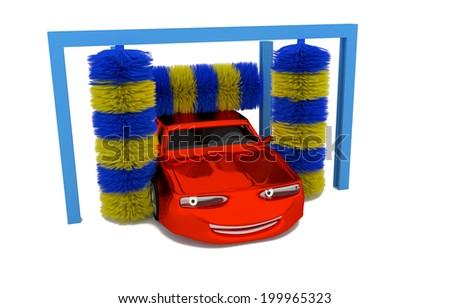 Cartoon illustration of a car inside a car wash - 3D model - stock photo