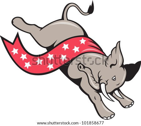 Cartoon illustration of a elephant jumping leaping with stars banner ribbon as republican mascot on isolated white background. - stock photo