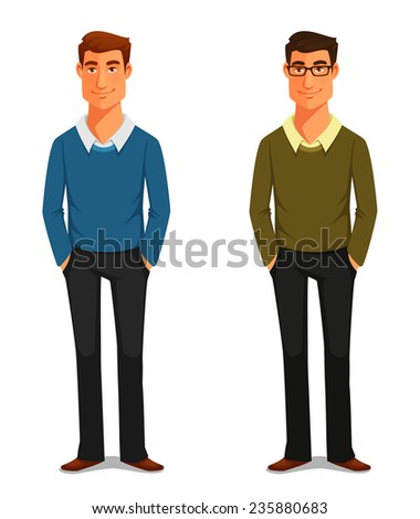 cartoon illustration of a friendly young man in casual clothes - stock photo