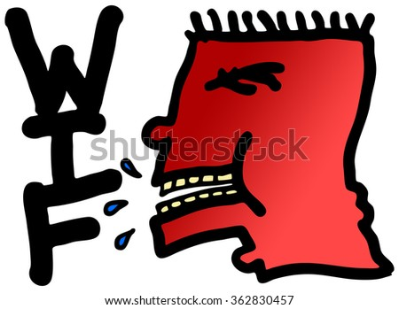 Cartoon illustration of a frustrated man's head shouting WTF.  - stock photo