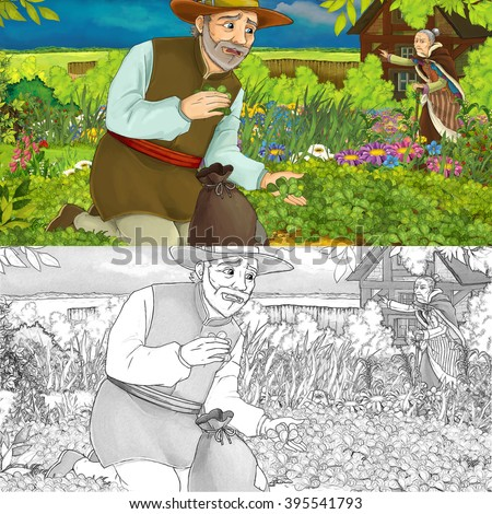 Cartoon illustration of a man gathering herbs in the garden - with an old woman in the background - with additional coloring page - illustration for children - stock photo