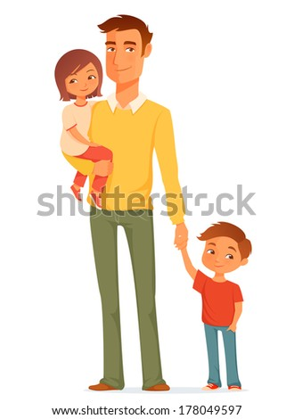 cartoon illustration of a single young father with his cute children - stock photo
