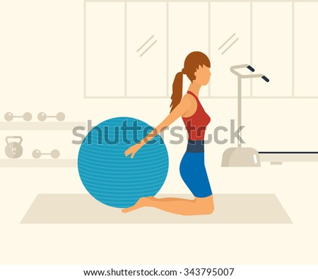 Cartoon illustration of a woman exercising with gymnastic ball. Sport fitness friendly female  - stock photo