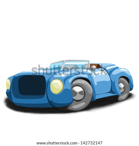 cartoon illustration of blue roadster - stock photo