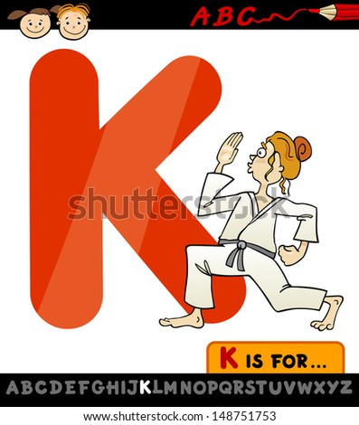 Cartoon Illustration of Capital Letter K from Alphabet with Karate for Children Education - stock photo