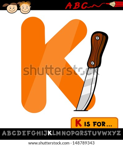 Cartoon Illustration of Capital Letter K from Alphabet with Knife for Children Education - stock photo