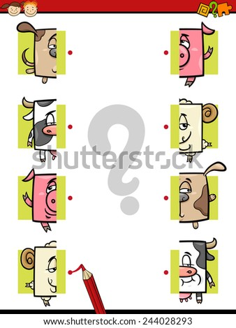 Cartoon Illustration of Education Halves Matching Game for Preschool Children - stock photo