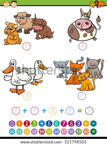 Cartoon Illustration of Education Mathematical Addition Game for Preschool Children with Animal Characters - stock photo