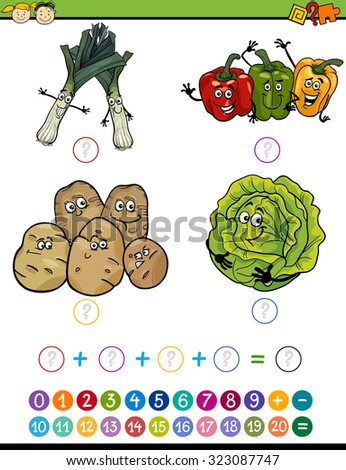 Cartoon Illustration of Education Mathematical Addition Task for Preschool Children with Funny Vegetables - stock photo