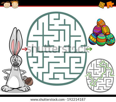 Cartoon Illustration of Education Maze or Labyrinth Game for Preschool Children with Easter Themes - stock photo