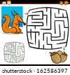 Cartoon Illustration of Education Maze or Labyrinth Game for Preschool Children with Funny Squirrel Animal and Acorns - stock photo