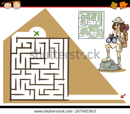 Cartoon Illustration of Education Maze or Labyrinth Game for Preschool Children with Girl Traveler and Pyramid - stock photo