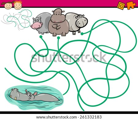 Cartoon Illustration of Education Paths or Maze Game for Preschool Children with Children and Present - stock photo