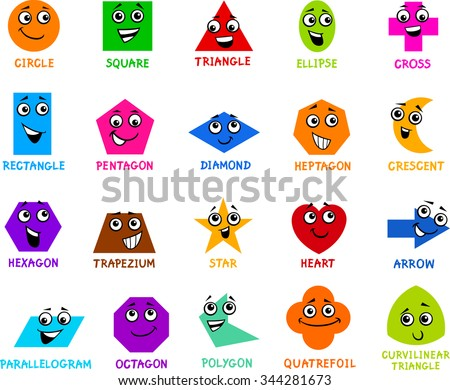 Cartoon Illustration of Educational Basic Geometric Shapes Characters with Captions for Preschool or Primary School Children - stock photo