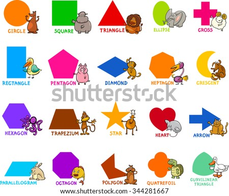 Cartoon Illustration of Educational Basic Geometric Shapes for Preschool or Primary School Children with Animal Characters - stock photo