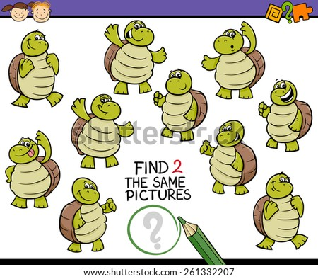Cartoon Illustration of Finding the Same Picture Educational Game for Preschool Children - stock photo