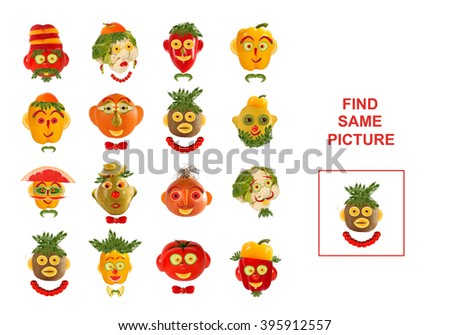 Cartoon  Illustration of Finding the Same Picture.  Educational Game for Preschool Children. - stock photo