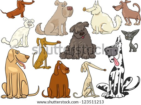 Cartoon Illustration of Funny Different Dogs or Puppies Set - stock photo