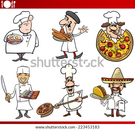 Cartoon Illustration of Funny International Cuisine Chefs with Food Dishes - stock photo