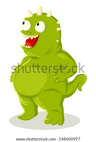 Cartoon illustration of green monster - stock photo