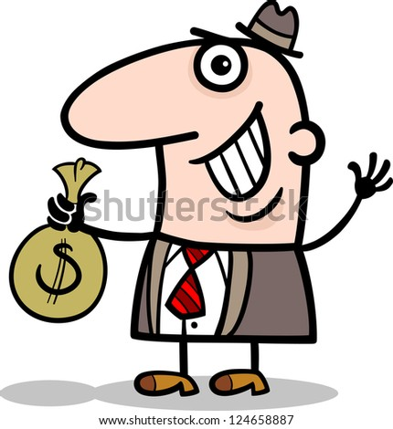 Cartoon Illustration of Happy Man or Businessman with Bag of Money in Cash - stock photo