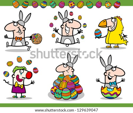 Cartoon Illustration of Happy Men Easter Themes with Bunny, Chicken or Chick and Colored Eggs - stock photo