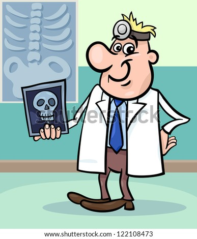 Cartoon Illustration of Male Medical Doctor in Hospital with X-ray Picture of Human Skull - stock photo