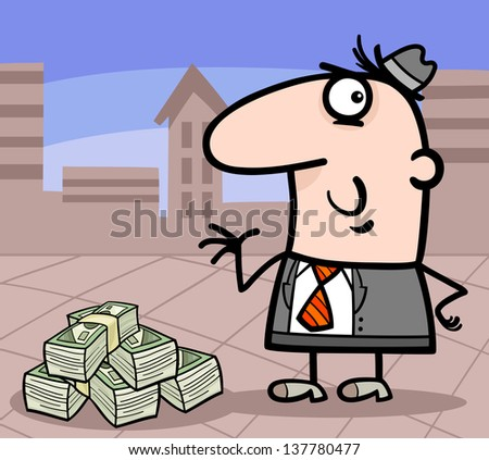Cartoon Illustration of Man or Businessman with Heap of Money in the City - stock photo