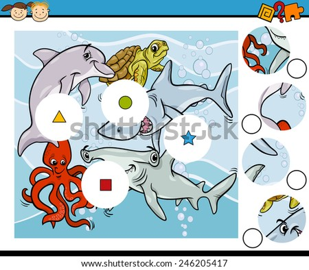 Cartoon Illustration of Match the Pieces Education Game for Preschool Children - stock photo