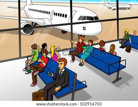 Airport Lounge Room Te... Airport Cartoon Images