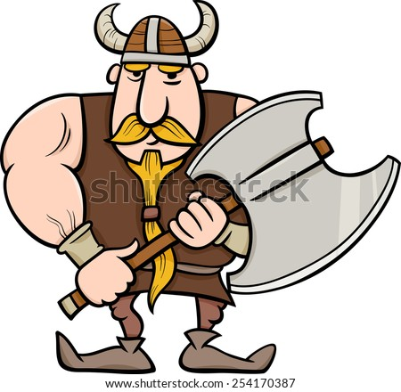 Cartoon Illustration of Viking or Knight with Axe - stock photo