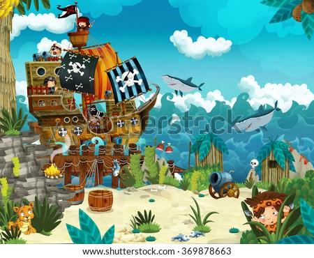 Cartoon illustration - pirates on the wild island - illustration for the children - stock photo