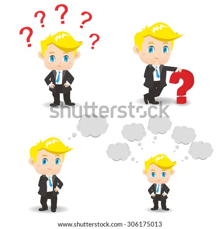 cartoon illustration set of Business man with question mark, think - stock photo