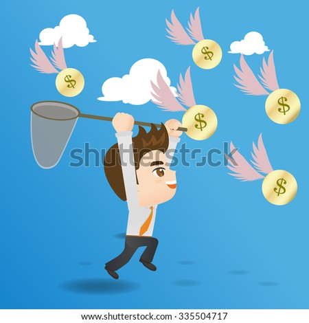 cartoon illustration set of businessman catching money - stock photo