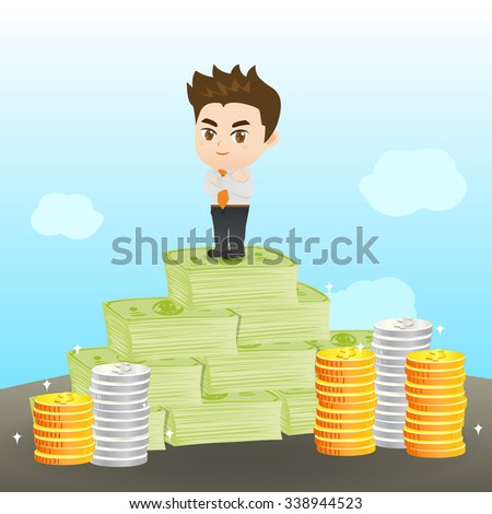 cartoon illustration set of Businessman earning the money - stock photo