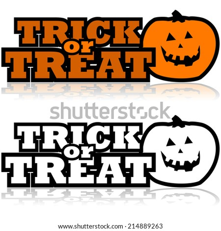 Cartoon illustration showing a carved pumpkin beside the words 'Trick or treat' - stock photo