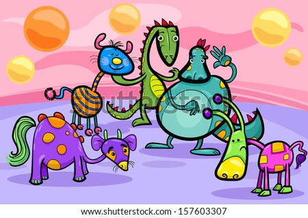 Cartoon Illustrations of Fantasy Creatures Comic Mascot Characters Group for Children - stock photo