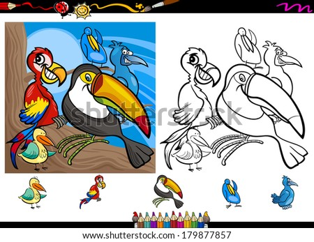 Cartoon Illustrations of Funny Colorful Birds Characters Group for Coloring Book with Elements Set - stock photo