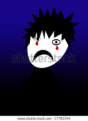 cartoon image of a emo youth - stock photo