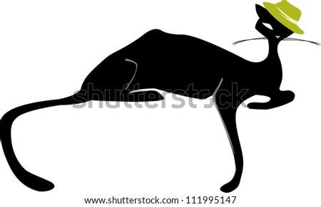 cartoon image of black cat isolated on white - stock photo